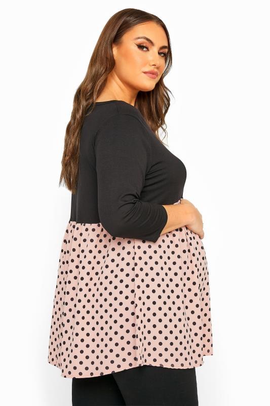 BUMP IT UP MATERNITY Black & Pink Polka Dot Smock Top