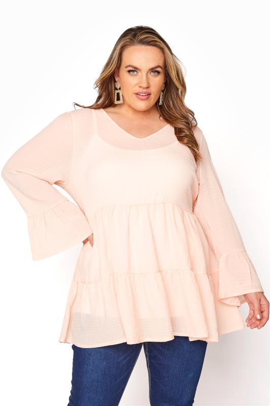 YOURS LONDON Natural Pink Ruffle Sleeve Tiered Smock Top_A.jpg