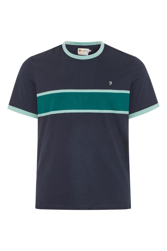 Men's  FARAH Blue Colour Block T-Shirt