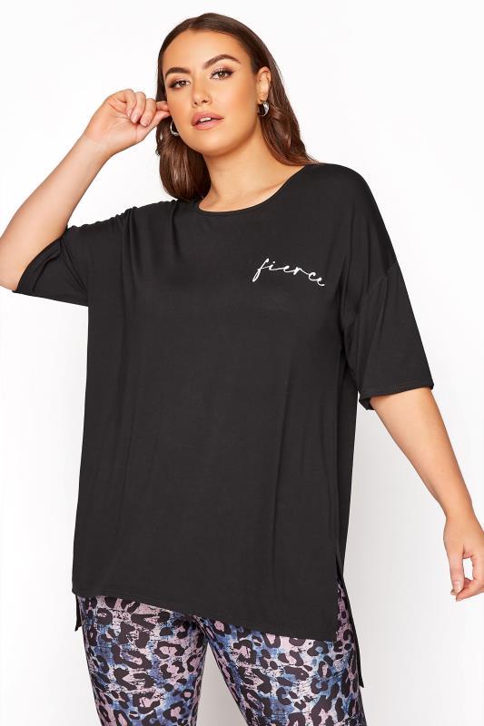 Plus Size  Black 'Fierce' Active T-Shirt