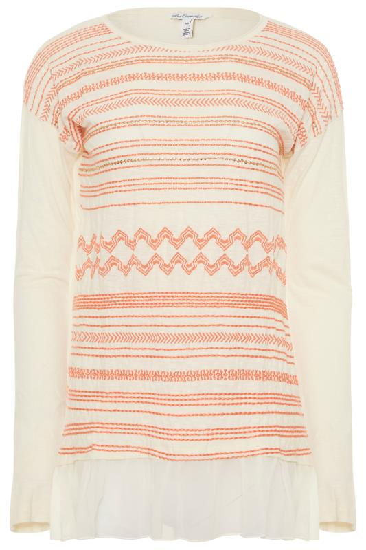 LONG ELEGANT LEGS Beige Stitch Patterned Layered Knitted Top