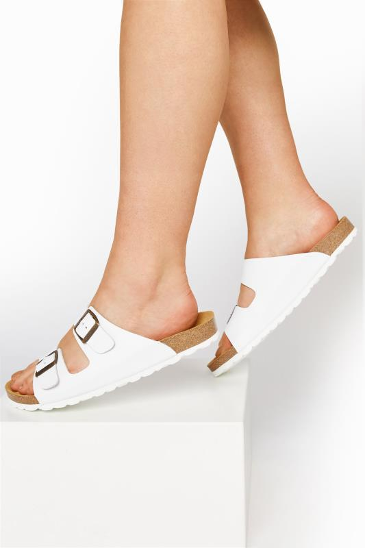 White Leather Two Buckle Footbed Sandals
