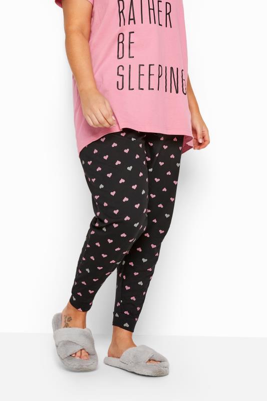 Black Heart Cuffed Pyjama Bottoms