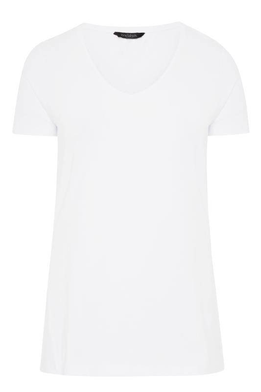 White Cotton Stretch V-Neck T-Shirt