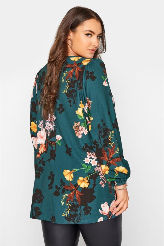 YOURS LONDON Emerald Green Floral Balloon Sleeve Blouse_C.jpg