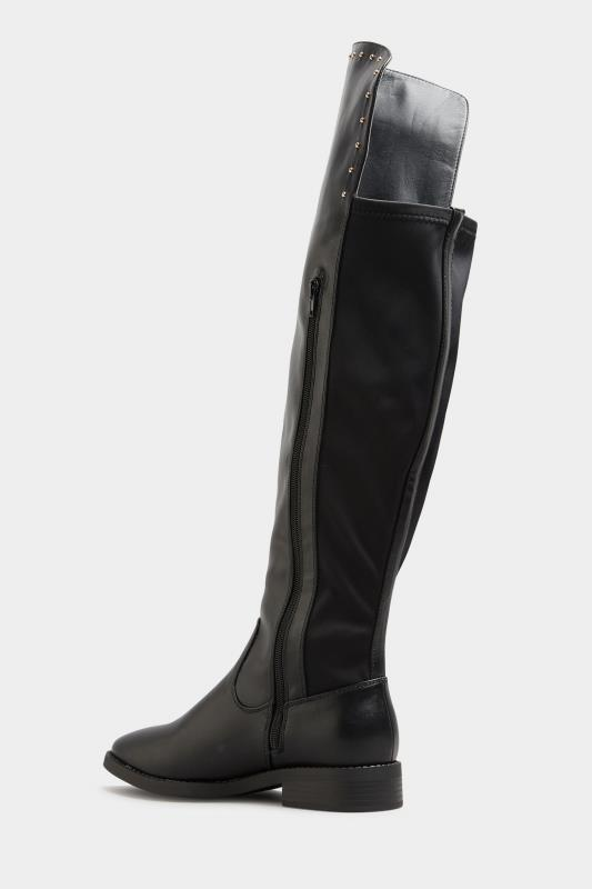 LIMITED COLLECTION Black PU Stud Over The Knee Boots In Extra Wide Fit_C.jpg