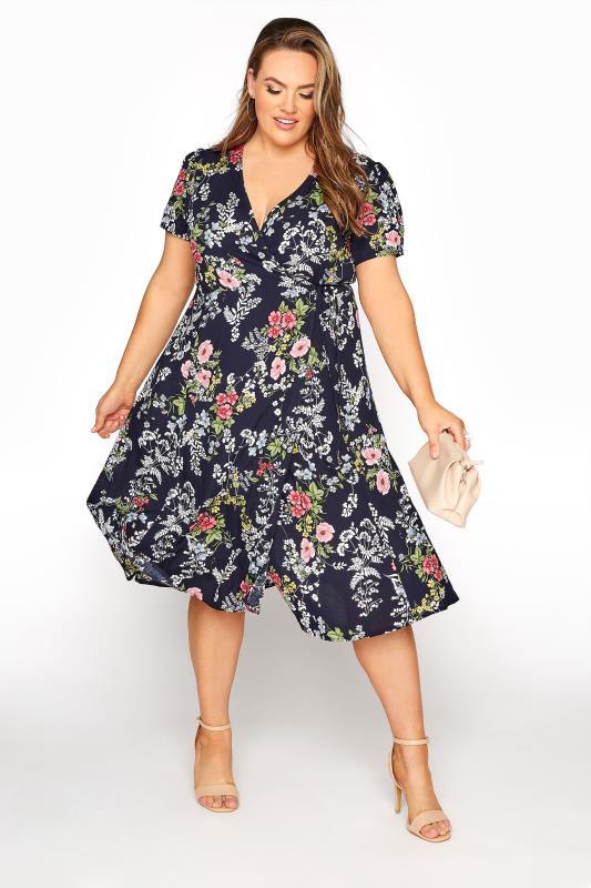 YOURS LONDON Navy Floral Wrap Midi Dress_B.jpg