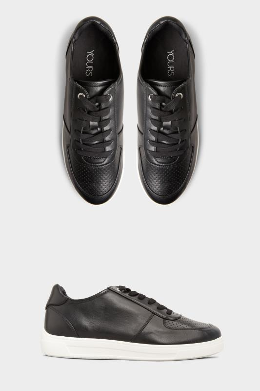 Black Vegan Leather Lace Up Trainers In Extra Wide Fit