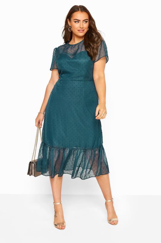 CHI CHI Teal Blue Dobby Mesh Frill Hem Midi Dress