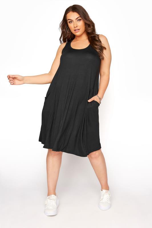 Plus Size Jersey Dresses Black Sleeveless Drape Pocket Dress