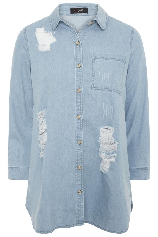 Bleach Blue Distressed Denim Shirt