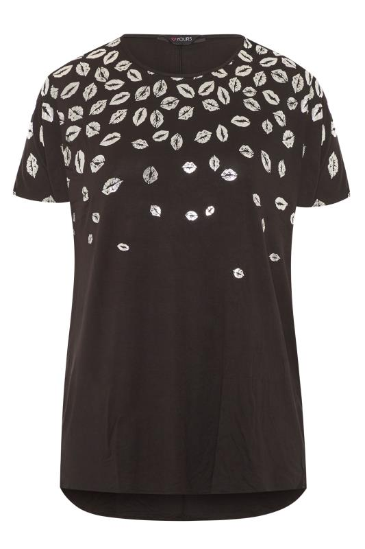 Black Foil Lips Print Dipped Hem Top
