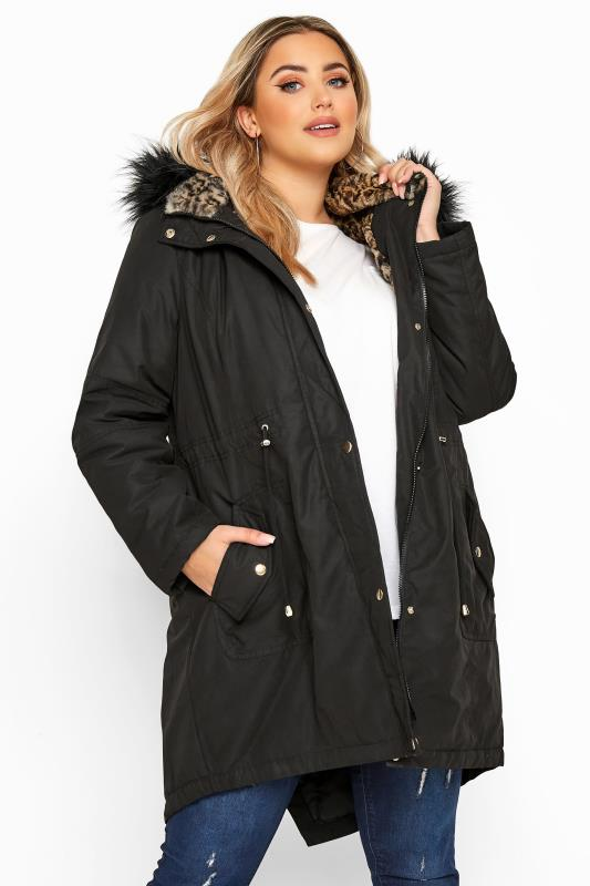 Faux Fur Coats dla puszystych Black Animal Print Faux Fur Parka Coat