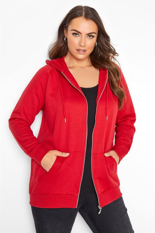 Plus Size  Red Basic Zip Through Hoodie