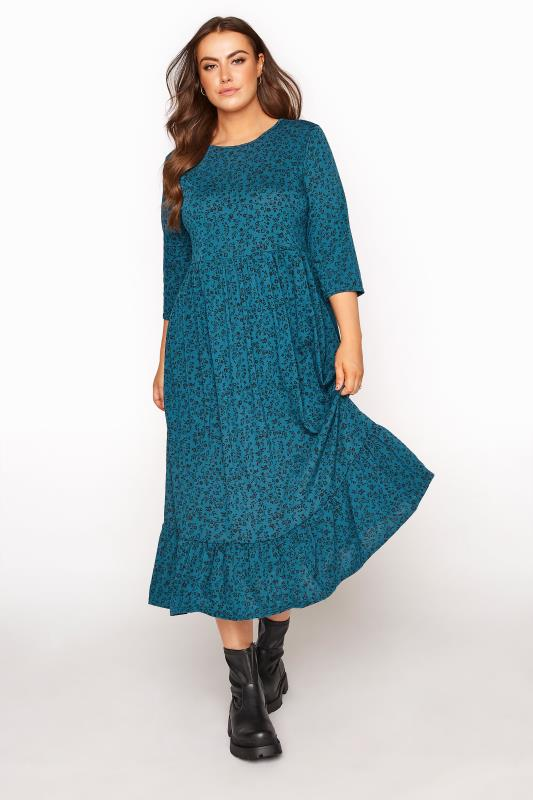 Plus Size  LIMITED COLLECTION Blue Floral Smock Midaxi Dress