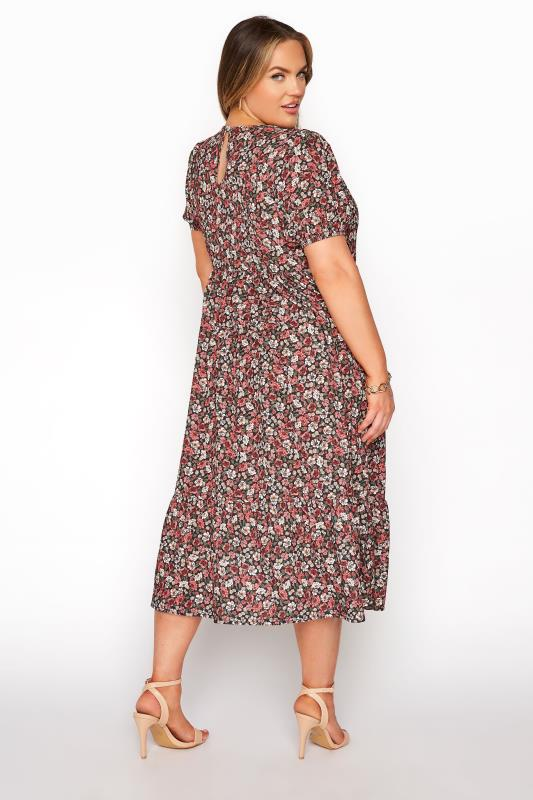 YOURS LONDON Red Ditsy Floral Smock Midi Dress_C.jpg