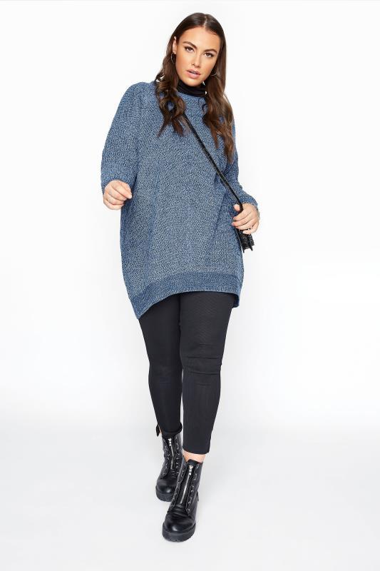 Blue Marl Chunky Knitted Jumper_B.jpg