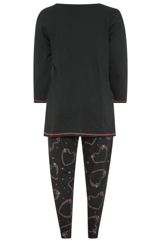 Black Heart Slogan Pyjama Set