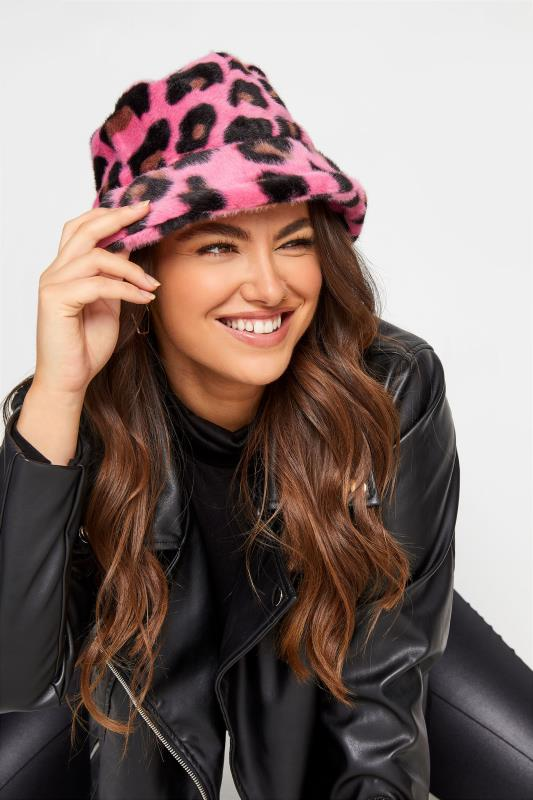 Tall  Yours Pink Leopard Print Faux Fur Bucket Hat