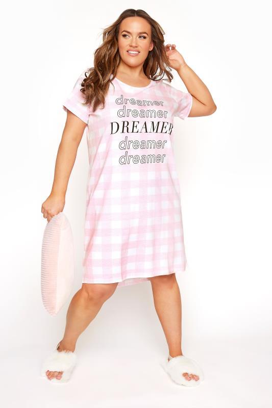 Plus Size  Pink Check 'Dreamer' Nightdress