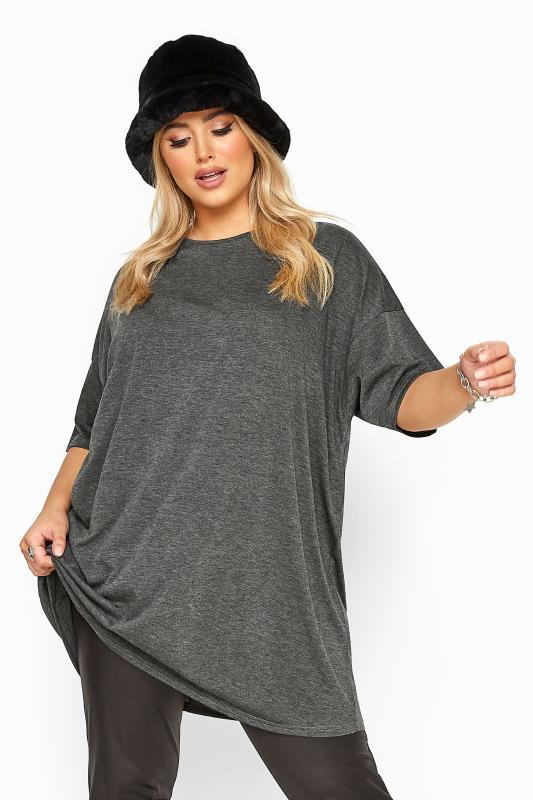 Plus Size  Charcoal Grey Jersey Oversized T-Shirt