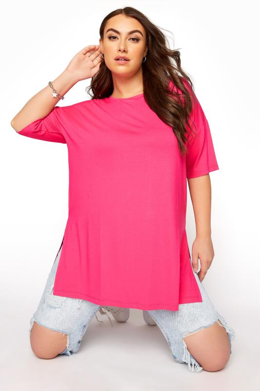 Plus Size  Hot Pink Oversized T-Shirt