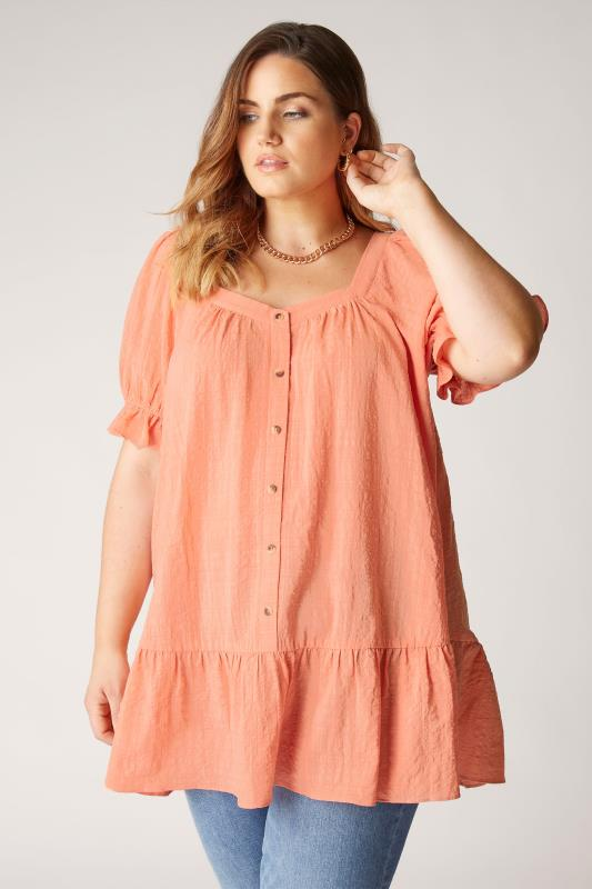 THE LIMITED EDIT Coral Puff Sleeve Tunic_A.jpg