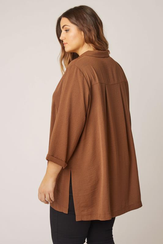 THE LIMITED EDIT Brown Open Collar Blouse_C.jpg