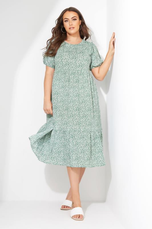 Sage Green Floral Frill Hem Midi Dress_L1.jpg
