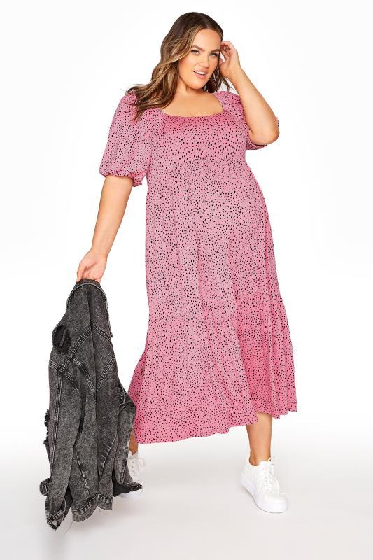 BUMP IT UP MATERNITY Pink Square Neck Midaxi Dress_B.jpg