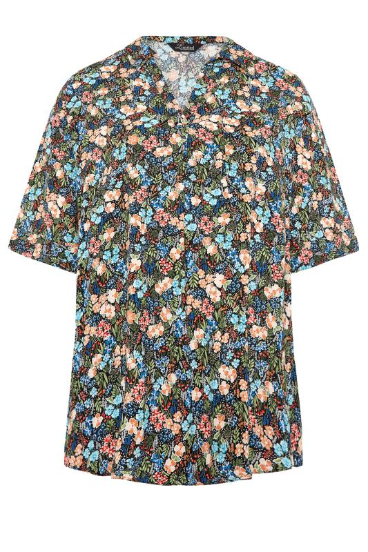 THE LIMITED EDIT Black Multi Floral Pleated Front Top_F.jpg
