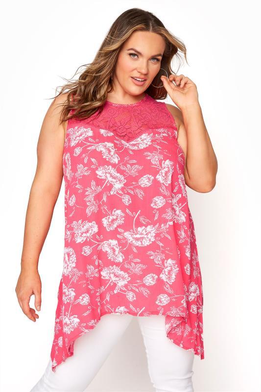Plus Size  Pink Floral Lace Vest