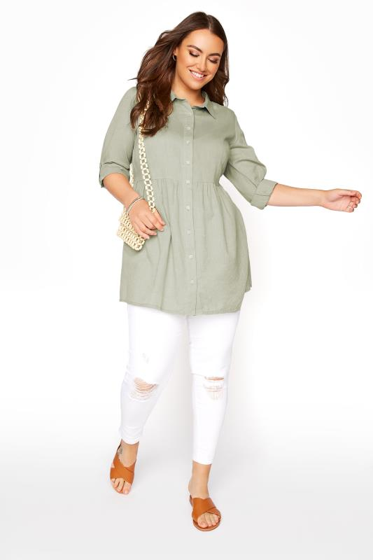 Khaki Chambray Peplum Shirt