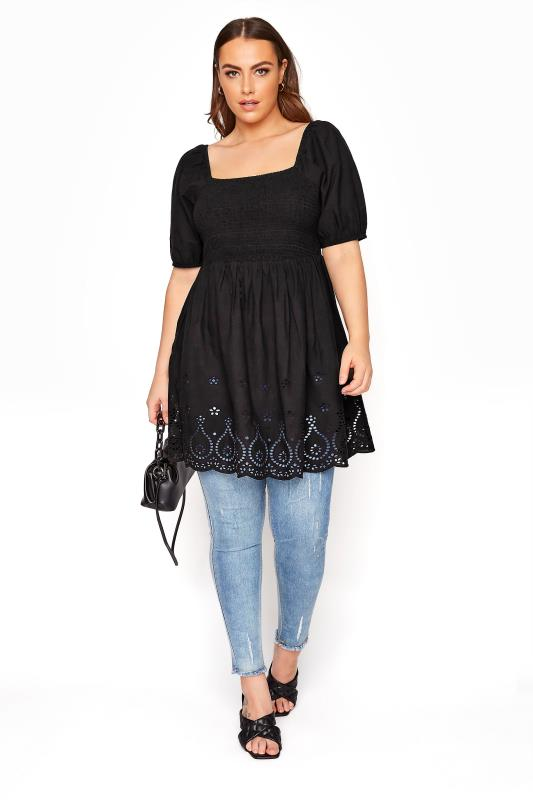Black Shirred Peplum Milkmaid Top