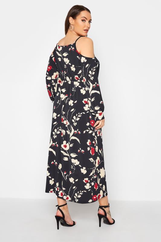 Black Floral Print Cold Shoulder Midaxi Dress_C.jpg