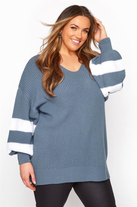 Blue Varsity Stripe Knitted Jumper