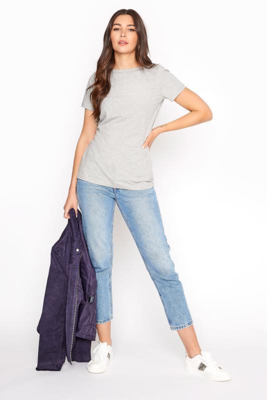 Grey Cotton Stretch Boat Neck T-Shirt