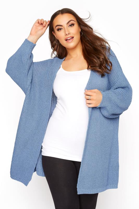 Pale Blue Oversized Balloon Sleeve Knitted Cardigan