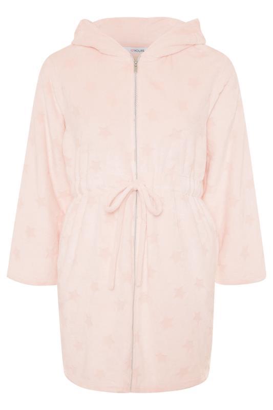 Pink Star Print Zip Dressing Gown_F.jpg