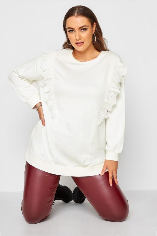 Plus Size  White Knitted Front Frill Sweatshirt