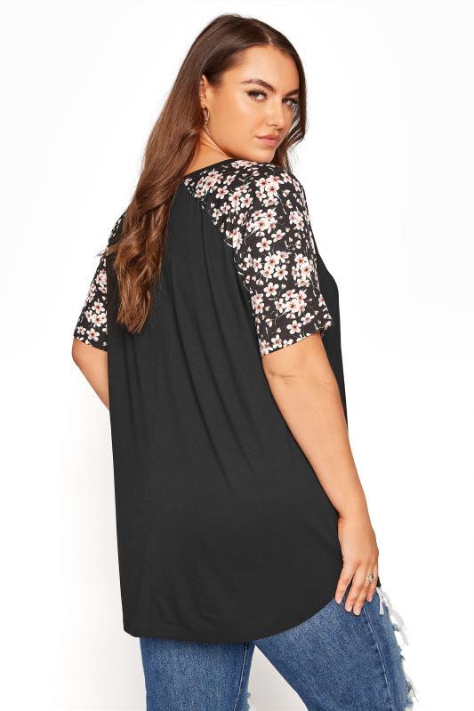 Black Raglan Floral Sleeve T-Shirt_C.jpg