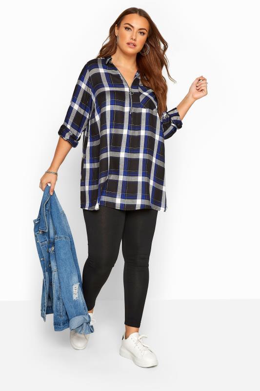 Blue Metallic Zip Neck Check Shirt