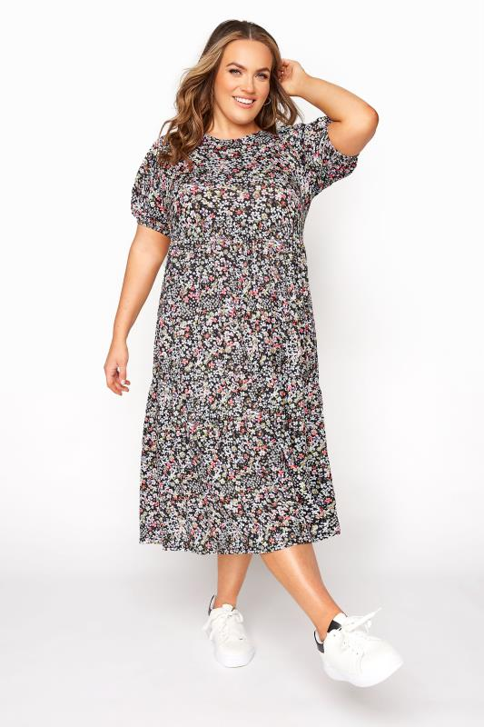 Großen Größen  Black Floral Puff Sleeve Midaxi Dress