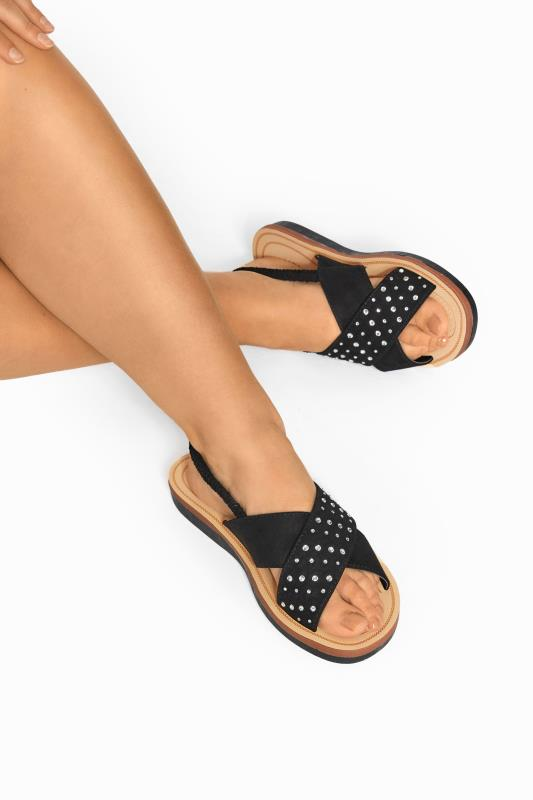 Black Cross Over Diamante Sandals In Extra Wide Fit