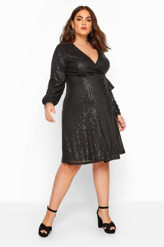 CHI CHI Black Sequin Wrap Dress