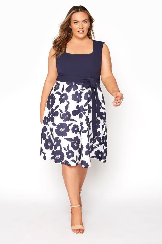 YOURS LONDON Navy Floral Square Neck Dress_A.jpg
