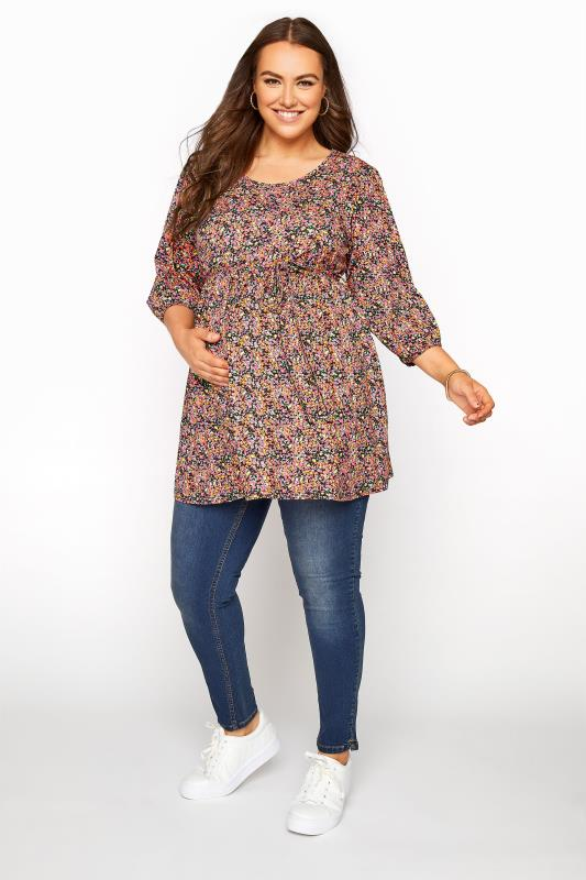 BUMP IT UP MATERNITY Multi Ditsy Print Belted Top_B.jpg