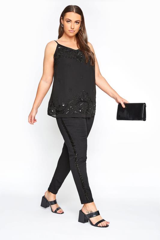 Plus Size Jeggings Black Metallic Glitter Side Stripe JENNY Jeggings