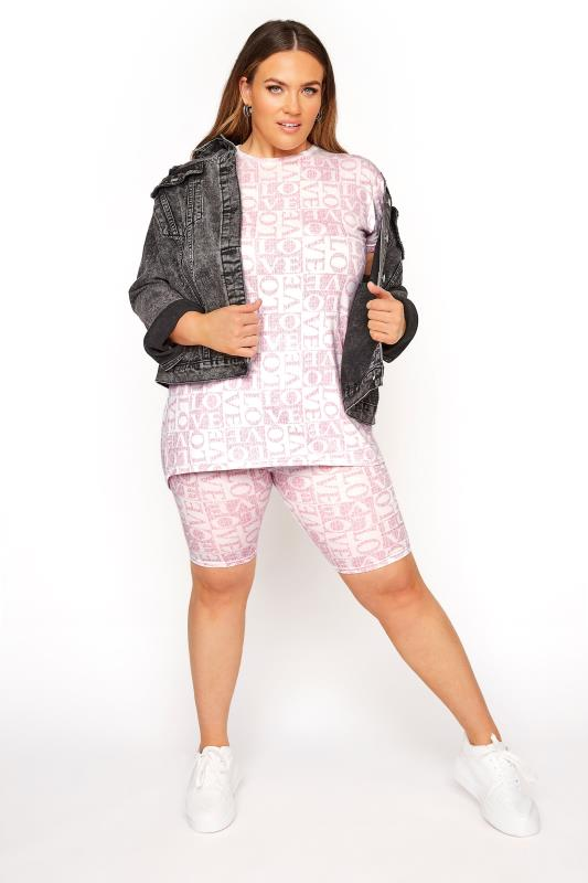 Plus Size  LIMITED COLLECTION Pink 'Love' Printed Cycling Shorts
