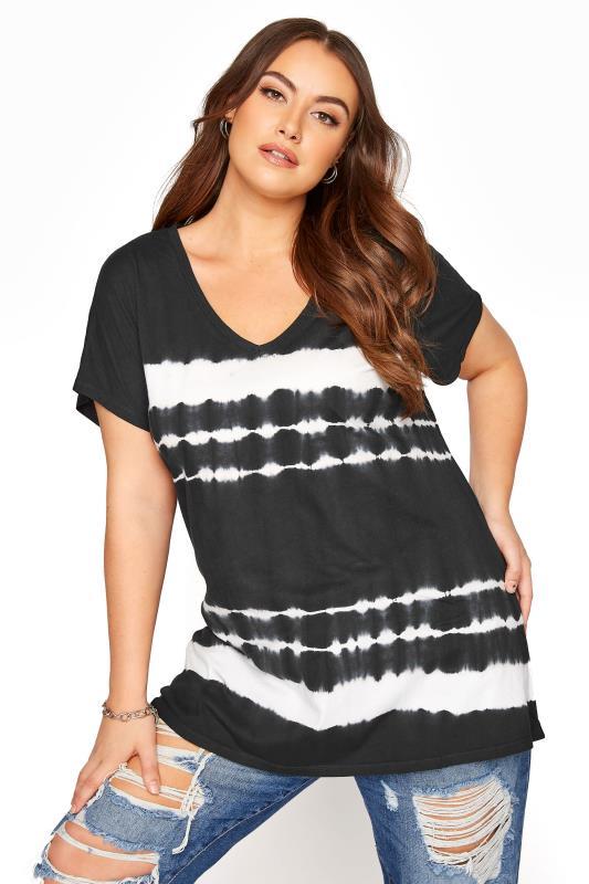 Plus Size  Black Tie Dye V-Neck T-Shirt